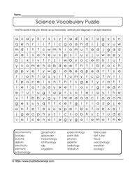 Science Vocabulary WordSearch